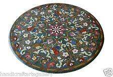 2'x2' Marble Side Coffee Table Top Floral Rare Mosaic Inlay Marquetry Christmas
