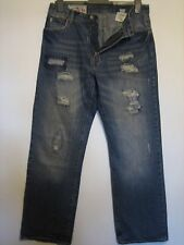 AA10) MENS  DISTRESSED ABERCROMBIE & FINCH  BLUE JEANS ZIP  FLY WAIST 32 LEG 32