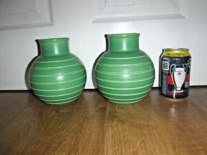 Pair Wedgwood Keith Murray Bomb Vases ~ Matt Green Glaze ~ Excellent ~ RARE