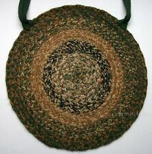 """Woods Braided Jute 15"""" Chair Pad Forest Green, Light Brown, Black, Natural"""