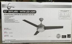 """Concord Ceiling Fan 52"""" Skylark Fan w/ LED Light  52SKY3SN-ES-LED CF52873-53-LED"""