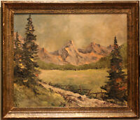 ANTIQUE SWISS ALPINE PAINTING, SIGNED - GRINDELWALD - OBERLAND-BERNESE