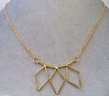 STUNNING VINTAGE ESTATE GOLD TONE GEOMETRICAL TRIPLE DIAMOND NECKLACE!!! WGA3224