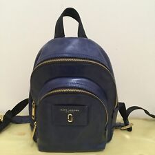 Marc Jacobs M0013264 Mini Double Zip Backpack Leather Blue Sea Dust Bag NWT $365