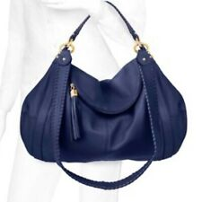 Onna Ehrlich Blue Pebbled Leather Rachel Hobo Satchel Bag Tassel