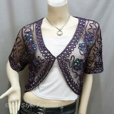 * Sequined Embroidery Shrug Glam Bolero Top Purple M