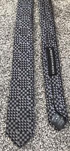 "Cedarwood State skinny grey black geometric smart polyester tie 1.8"" wide"