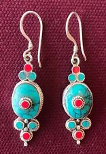 Tibetan-Style Silver Oval Earrings w/ Natural Coral and Turquoise