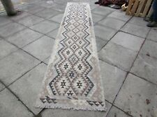 Kilim Vintage Traditional Hand Made Oriental Grey Long Kilim Runner 394x81cm