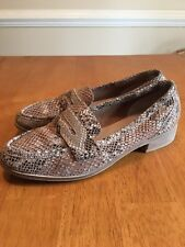 SEYCHELLES WEEKENDERS Snake Pattern Beige Leather Loafers Women's Sz 10