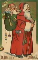 Christmas - Santa Claus Long Red Robe #1163 c1910 Postcard