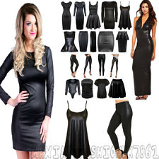 NEW WET LOOK WOMENS PVC SEXY BODYCON DRESS MINI SKIRT TOP LEGGINGS PLUS SIZE