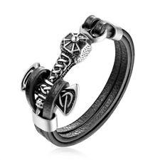 Bracelet cuir acier bangle celtique norse viking talisman homme hammer hache