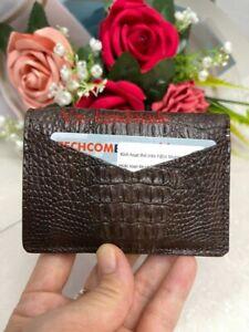 Crocodile Leather Credit Card Holder DOUBLE SIDE Genuine Alligator Brown