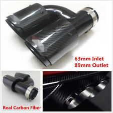 Universal Black Glossy Car SUV Dual Pipe Left Exhaust Pipe Muffler Carbon Fiber