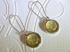 Gold glitter glass dome silver toned dangle earrings 12mm JoMacDesigns