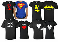 COUPLE LOVE MATCHING T shirt gift Christmas valentine batman beauty MRS