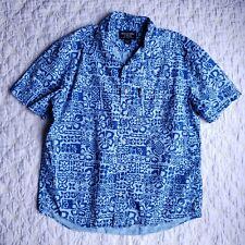 Abercrombie & Fitch Mens Blue Hawaiian Button Down Shirt Size M Pocket Cotton