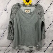 HOLLISTER 3/4 Sleeve Lace Sweat Shirt Blouse Womens Sz M Lightweight Gray dt4445