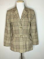 Valentino Boutique Italy Womens Wool Plaid Belted Jacket Blazer Brown Sz 8