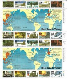 US SCOTT 2838 PANE OF 20 WORLD WAR 2 STAMPS 29  CENT FACE  MNH