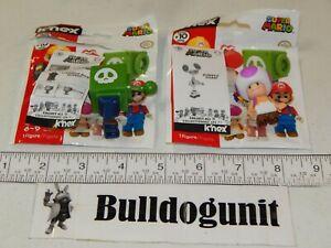 Cannon Box Luigi & Purple Toad Figure Lot Super Mario K'nex Figures Series 10