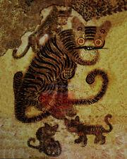 "Korean Art, Minhwa(민화)-Tiger and magpie, 8""x10"" Printed on silk Matted fa6"