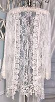 NEW L Ivory White Lace Open Kimono Cardigan Jacket Topper