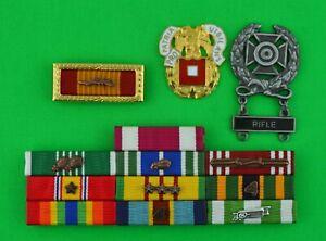 ARMY VIETNAM WAR 10 RIBBON BAR, BADGE, SIGNAL REGIMENTAL CREST - 3 Campaigns