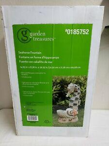 """Seahorse Standing Water Fountain 26.25""""H Indoor/Outdoor Garden Treasures NEW!"""