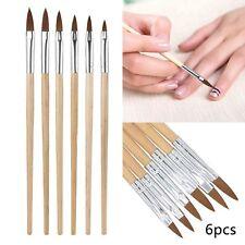 6x Professional Round Sable Acrylic Nail Art Brush Various Size 2 4 6 8 10 12 UK