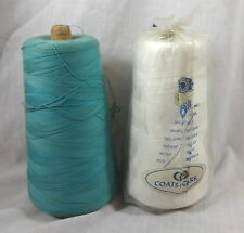 3 Cord Thread 12000 Yards Turquoise & 4 Cord Thread White 6000 Yards Coats Clark