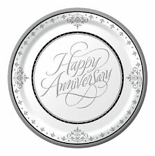 25th Silver Wedding Anniversary Party Supplies - Banquet/Dinner Plate 26cm 18pk