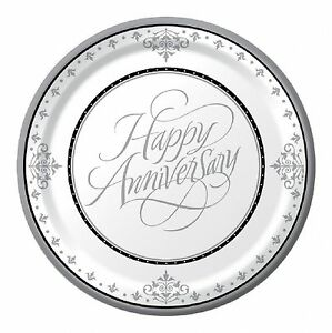 25th Wedding Anniversary Banquet/Dinner Plate 26cm 18pk Silver Anniversary Party
