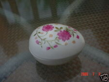 Lefton Egg Shaped Trinket Box With Lid With Flowers