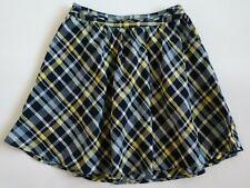JOIE Linen Blue Yellow Plaid Kaylea Skirt ~ Women's Medium ~ NEW