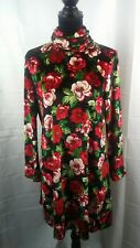 Womens JunipeRose Floral Long Sleeve Mini Dress Black Size 10