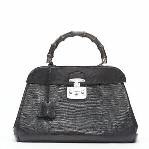 GUCCI Lady Lock black lizard leather bamboo silver clasp lock satchel work  bag