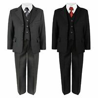 BOYS JACKET TROUSERS SHIRT WAISTCOAT TIE 5 PIECE SUIT WEDDING PARTY 6MTH -14YEAR