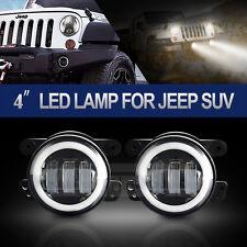 2x 4'' INCH Led Fog Light White Halo 6000K Offroad 07-15 Jeep Wrangler JK Dodge