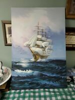24 X 36 Mayflower? Painting Oil On Canvas