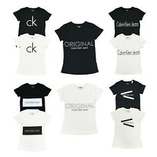 Calvin Klein Womens CK Logo Crew Neck T-Shirt Short Sleeve Graphic Tee Shirt Top