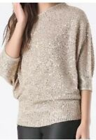 BEBE Asymmetric Off Shoulder Sequin Sweater Top Shirt Gold Champagne XS