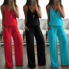 ❤️ Womens Sleeveless V Neck Jumpsuit Casual Loose Wide Leg Pants Romper Playsuit