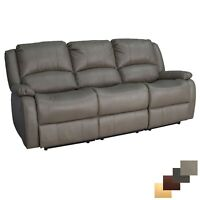 "RecPro Charles 80"" Triple RV Zero Wall Recliner Sofa With Drop Console Putty"