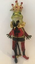 Katherine's Collection Retired Articulating Frog Prince Black Club Ornament NOS