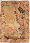 Rare Antique French Tapestry Human Figures Flirting 4X6 Fine 132cm x193cm Beige