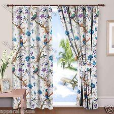 Indian Cotton Bird Print Window Curtain 2 Pcs Drapery Panel Sheet Door Valances