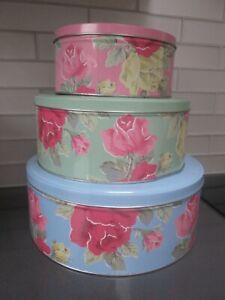 Cath Kidston Vintage Royal Rose Round Cake Storage Tins - Set of 3