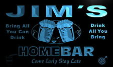 p153-b Jim's Personalized Home Bar Beer Family Name Neon Light Sign